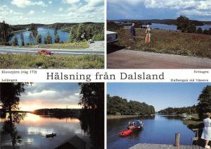 Sweden Halsning fran Dalsland Artingen Dalbergsa vid Vanern Lelangen Boat Cars