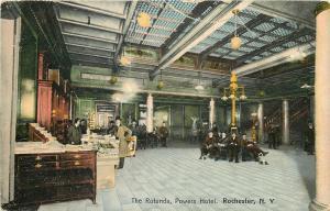 Rochester NY~Powers Hotel Clerk~Rotunda Interior~Newspapers~Postcard Rack~1910