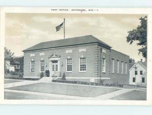 Linen POST OFFICE SCENE Jefferson Wisconsin WI hs1631