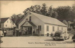 Alton Bay NH Chapel & Cars Postcard