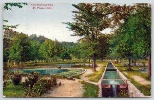 St Paul Minnesota~Beautiful Walk in the Park Near the Fish Hatcheries~1908 PC