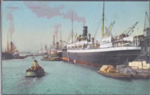 Hamburg Germany - HAMBURG PORT ships and boatson  the waterfront, 1910s