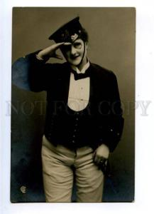 175681 BELLE Woman in UNIFORM as RAILWAY Officer Vintage photo