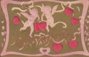 VALENTINE DAY, 1900-10s; To My Valentine, Cupids & pink hearts