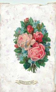 Early greetings handmade papercut chromo emboss roses fantasy postcard