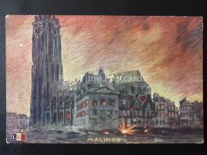 WW2 Belgium Antwerp Flanders Mechelen MALINES Bombing Raid - Old Postcard