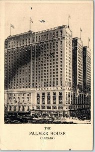 Chicago, Illinois Postcard THE PALMER HOUSE Hotel / Street Scene w/ 1937 Cancel