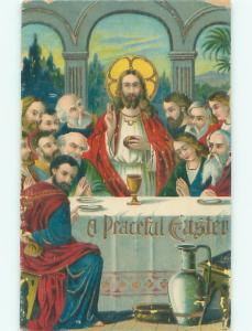 Pre-Linen Easter religious JESUS AT THE LAST SUPPER AB4193