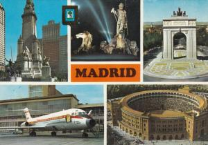 MADRID , Spain , 1981 ; 5  view Postcard , Airplane , Stadium......