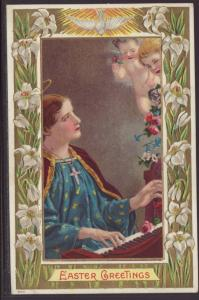 Easter Greetings,Woman Playing Piano Postcard