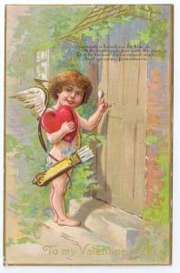 Cupid Cherub Knocking on Door Embossed Gold Gilt Valentine Postcard Winsch back