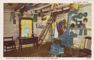 Michigan Irish Hills Log Joisted Kitchen Historic Walker Tavern Curteich
