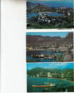 P1909, 3 dif vintage mexico unused ships boats towns etc harbo5 views postcards