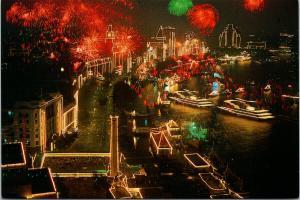 The Bund Shanghai China Fireworks Hai Feng Pub Unused Postcard F6