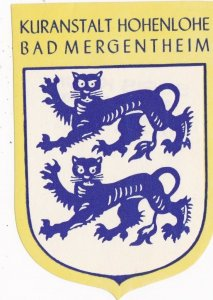 Switzerland Bad Mergentheim Kuranstalt Hohenlohe Vintage Luggage Label sk4262