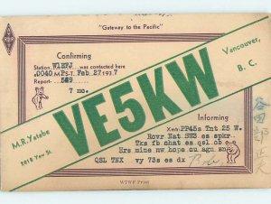 1930s QSL RADIO CARD Vancouver British Columbia BC AH3148
