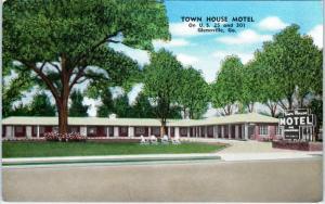 GLENNVILLE, GA Georgia  TOWN HOUSE MOTEL  c1940s Roadside  Linen Postcard