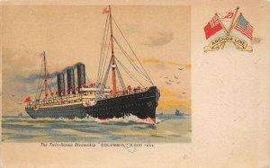 LP41 Ship Anchor Line  Vintage Postcard  Steamship Columbia