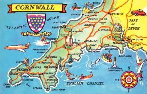 Vintage UK England Map Postcard, Cornwall D15