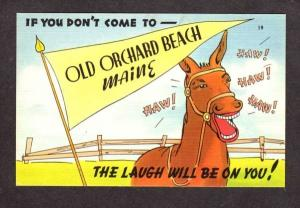 ME Laughing Horse Pennant Banner OLD ORCHARD BEACH MAINE Postcard  Linen PC