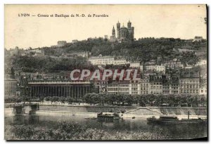 Old Postcard Coteau Lyon and Fourviere Basilica ND