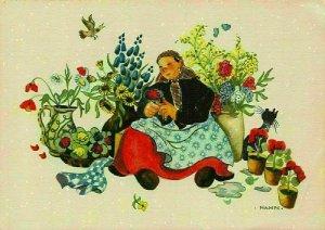 Woman Selling Flowers, Fleurs, Hahn Art Postcard