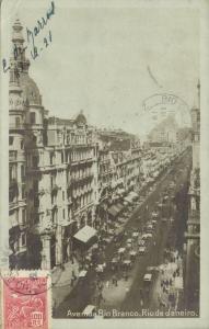 brazil, RIO DE JANEIRO, Avenida Rio Branco (1921) RPPC, Stamp