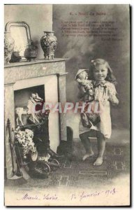Old Postcard Fun Children Christmas Doll