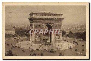 Old Postcard The Place de l'Etoile and the Arc de Triomphe monument largest o...