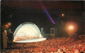 Hollywood California~Hollywood Bowl~Night Lights~Crowd @ Symphony~1950s Postcard