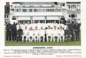 Zimbabwe 2000 G A Flower T Taibu H Streak International Team Cricket Postcard