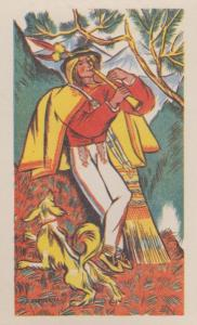 Vintage Polish Poland Flute Horn Red Indian Style Costume Antique Postcard