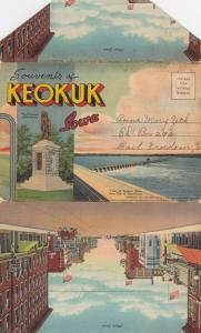 KEOKUK ,  Iowa, 1930-40s ; Folder Postcard
