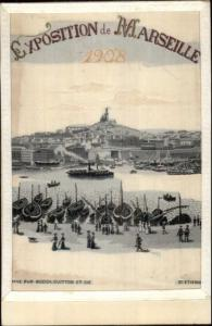 Exposition Marseille France 1908 SILK EMBROIDERED Postcard gfz