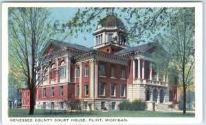 FLINT, Michigan  MI   GENESSEE COUNTY COURT HOUSE  ca 1920s  Postcard