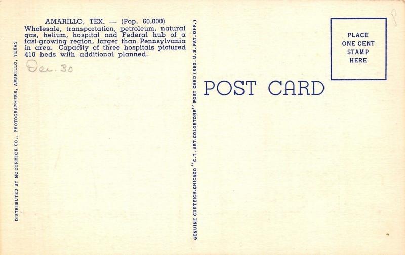 Amarillo Texas~Hospitals~Veterans~Northwest~St Anthony~1939 Linen Postcard
