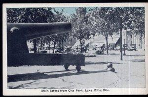 Wisconsin LAKE MILLS Main Street from City Park older cars - White Border