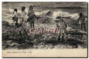 Old Postcard Fantasy Children on the beach Swimsuit