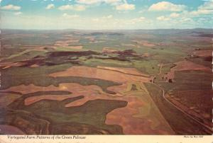 IDAHO WASHINGTON STATE LINE~VARIEGATED FARM PATTERNS OF GREEN PALOUSE POSTCARD