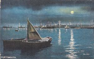 Full Moon over sailboats in the harbour of Portsmouth, Hampshire, England, Un...