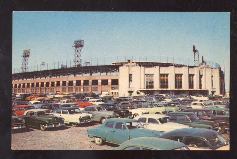 INDIANAPOLIS INDIANA VICTORY FIELD INDIANS BASEBALL STADIUM OLD CARS POSTCARD