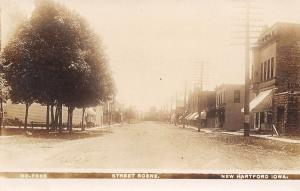 New Hartford IA~Main Street~Bell Telephone~Elevator at End~RR Crossing~1908 RPPC