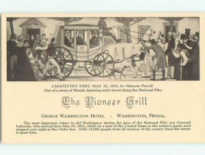 Divided-Back PIONEER GRILL RESTAURANT Washington Pennsylvania PA W5563-12