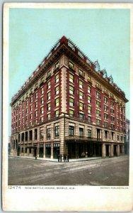 Mobile, Alabama Postcard NEW BATTLE HOUSE Hotel Street View Detroit Pub. 1910s
