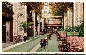 Postcard View of Main Lobby, Book-Cadillac Hotel in Detroit, Michigan~132623
