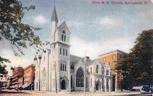 First M E Church Springfield Illinois 1910c postcard