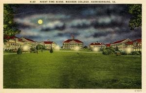VA - Harrisonburg. Madison College, Night time scene