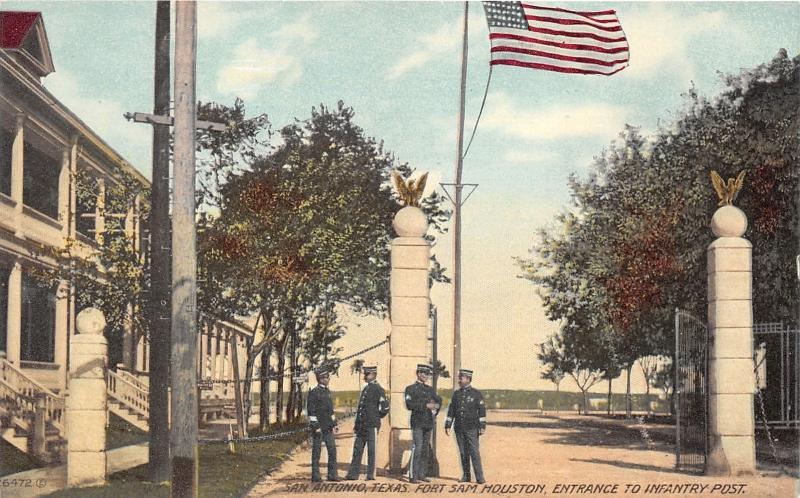 San Antonio Texas~Fort Sam Houston-Army Soldiers @ Infantry Post Entrance~c1910