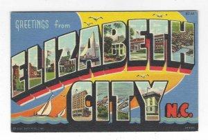 1940's Greetings from Elizabeth City, North Carolina Large Letter Linen Postcard