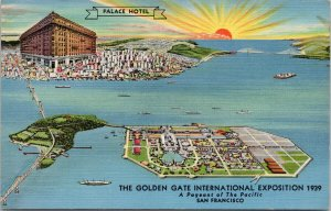 Palace Hotel San Francisco Golden Gate expo 1939 Unused Linen Postcard F54